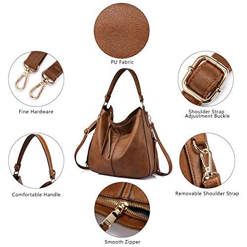 3655 4 handtaschen damen lederimitat   Handtaschen Damen Lederimitat Umhängetasche Designer Taschen Hobo Taschen groß Mit Quasten Braun