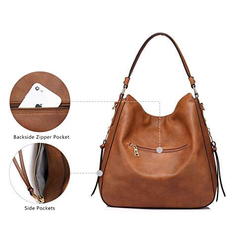 3655 5 handtaschen damen lederimitat   Handtaschen Damen Lederimitat Umhängetasche Designer Taschen Hobo Taschen groß Mit Quasten Braun
