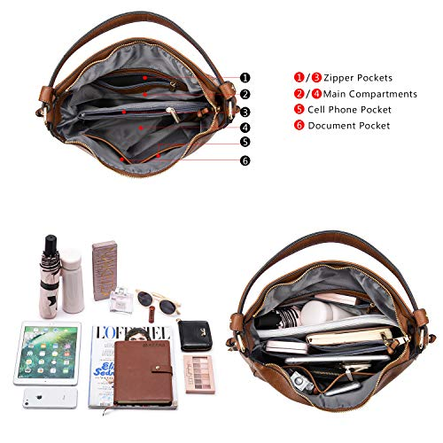 3655 6 handtaschen damen lederimitat   Handtaschen Damen Lederimitat Umhängetasche Designer Taschen Hobo Taschen groß Mit Quasten Braun