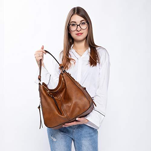 3655 8 handtaschen damen lederimitat   Handtaschen Damen Lederimitat Umhängetasche Designer Taschen Hobo Taschen groß Mit Quasten Braun